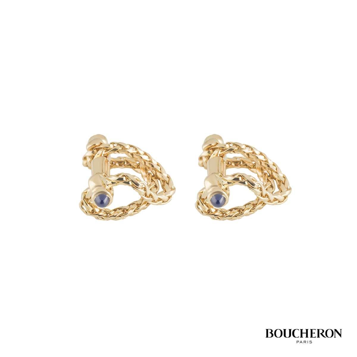 Boucheron 18k Yellow Gold & Sapphire Cufflinks